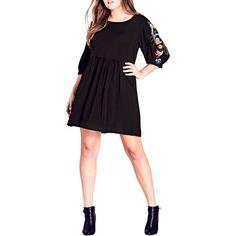 Plus Size Women's City Chic Phoenix Dress ($62) via Polyvore featuring dresses, black, plus size, plus size pleated dress, bishop sleeve dress, ruched waist dress, loose fit dress and city chic dresses