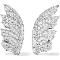 Stephen Webster Magnipheasant 18-karat white gold diamond earrings ($8,740) ❤ liked on Polyvore featuring jewelry, earrings, pave diamond earrings, iridescent earrings, clasp earrings, white gold jewelry and diamond jewelry