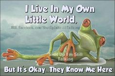 I live in my own little world!