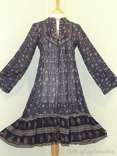 """70's boho dress. My Mother had this dress. In fact if I showed her this picture she would say, """"okay who took a time machine to my closet."""""""