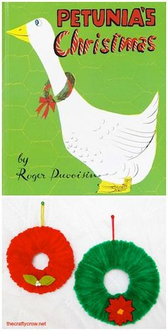 The Crafty Crow Christmas Book and Craft Advent  book: Petunia's Christmas  craft: chenille stem wreath craft for kids