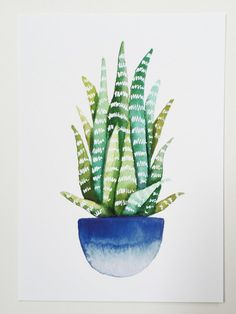 Impression d'une aquarelle originale d'un cactus