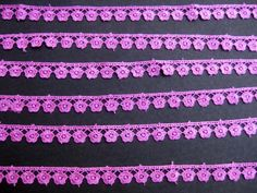 Lace/ border/ trim/ pink/ magenta crochet design in silk thread. 20 meters. 790 inches approx.