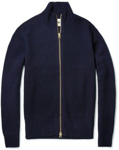 Acne Blue Lester Ribbed Wool Blend Zipped Cardigan