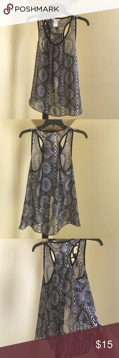 Sheer black and white blouse size M Beautiful flowy sheer black and white blouse, looks fabulous with a bralette under. Reveals your lower back in a sexy but classy way Love Fire Tops Blouses