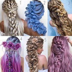 Pretty Braided Hairstyles for Hair Type Pretty Hair Color, Beautiful Hair Color, Pretty Braided Hairstyles, Cute Hairstyles, Medium Hair Styles, Long Hair Styles, Wedding Hair Down, Wedding Braids, Creative Hairstyles