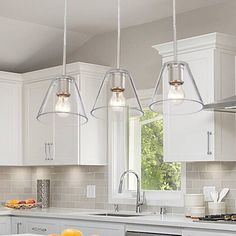Kitchen Island Lighting, Kitchen Pendant Lighting, Kitchen Pendants, Kitchen Island Light Fixtures, Coastal Kitchen Lighting, Kitchen Lights Over Island, Kitchen Lighting Design, Kitchen Islands, Glass Pendant Shades