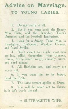 "Post with 2294 views. ""Advice on Marriage. To Young Ladies"" - Suffragette pamphlet Bushy Eyebrows, Nova, Oily Hair, Pink Lipsticks, Humor Grafico, How To Apply Makeup, Marriage Advice, Young Marriage Quotes, The Art Of Marriage"