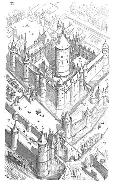 The Louvre, at the time of Charles V (Second half of the XIV century). From Dictionnaire raisonné de Romanesque Architecture, Sacred Architecture, Cultural Architecture, Classic Architecture, Architecture Sketches, Chateau Medieval, Medieval Castle, Paris Au Moyen Age, Castle Drawing