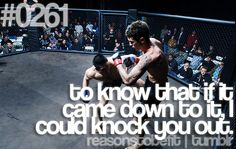 Reason To Be Fit #0261: To know that if it came down to it, I could knock you out.