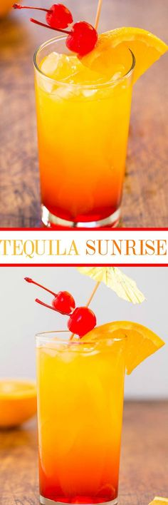 Tequila Sunrise - The classic cocktail that never goes out of style! Refreshing and easy! Everything tastes better topped with an umbrella!! Perfect for holiday celebrations!
