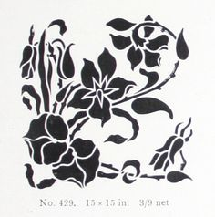 """Corner stencil design (15""""x15"""") from """"A Practical Guide to Stencilling"""" by Frank Gibson (1913)."""