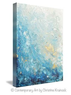 """Drifting Away"" Giclee Print Canvas Print Art Blue Abstract Painting marbled effect aqua blue sea foam green white grey light blue contemporary wall art decor"
