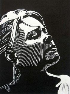 """Awaiting"" linocut by Mark Rowden. www.wingedlionpre… Tags: Woman, Portrait, Profile, Linocut, Cut, Print, Linoleum, Lino, Carving, Block, Woodcut, Helen Elstone."
