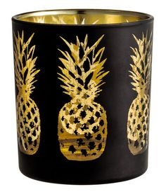 Glass Tea Light Holder | Black/pineapple | Home | H&M US