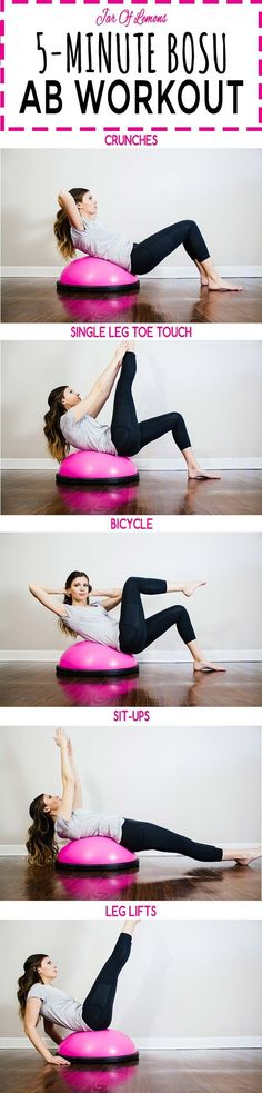 5-Minute BOSU Ab Workout! Do each move for 1 minute. Repeat this workout 2-3 times to really challenge yourself! Sponsored by @bedbathbeyond #ad #BedBathandBeyond #WellBeyond