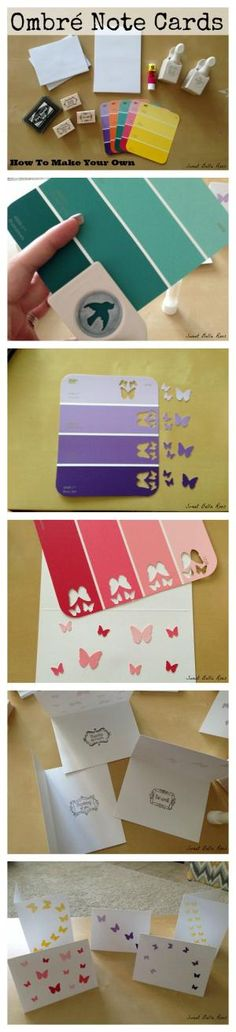 How to make ombré note cards using paint color samples and fun punches! by cynthia