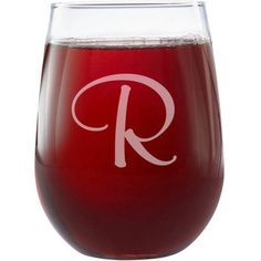 Personalized Stemless Monogram Wine Glass, Choose from Script or Swirl, Clear