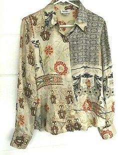 4b2eb94aeb2 Bob Mackie Studio Women's Blouse size 12 Top 100% silk Multi-color TAN/
