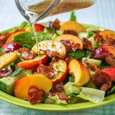 (Sub 5 drops stevia for honey; use nitrate-free turkey bacon) Sweet Lemon Vinaigrette on Peach Bacon Salad - a vinaigrette recipe that goes very well with salads using summer fruits like peaches, plums or raspberries.