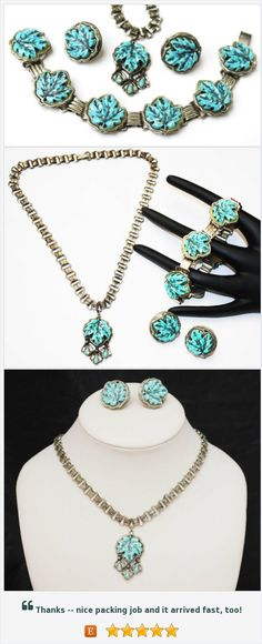 Turquoise Maple leaf - Necklace Bracelet and earring set - Vintage plastic - silver book chain necklace-screw back earrings https://www.etsy.com/serendipitytreasure/listing/551975770/turquoise-maple-leaf-necklace-bracelet?ref=listing_published_alert