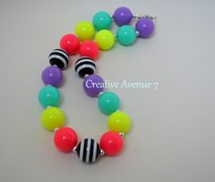 Neon....HOT colors for Summer Time! This Necklace will compliment many outfits your Little Missy has!        Made in a Pet and Smoke Free Home