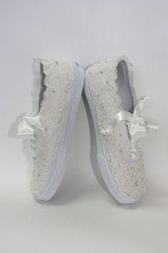 Wedding Vans Lace Vans Bridal Tennis Shoes Lace by Parisxox