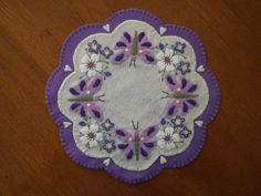 Purple Butterflies and Flowers Candle mat and Free Shipping!