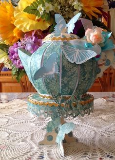 """Paper Craft Creations: """"Tea for You and Me"""" Teapot - Pedestal - Butterflies 3d Paper Crafts, Paper Art, Paper Crafting, Paper Tea Cups, Butterfly Kit, Teacup Crafts, Teapots And Cups, Teacups, Alice In Wonderland Birthday"""