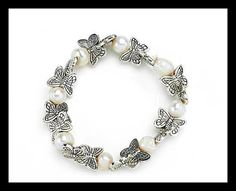 Silver & Cultivated Pearls Stretch Bracelet Real cultivated pearls and pretty silver-coloured butterflies. Stretch Bracelets, Timeless Design, Compliments, Fashion Jewelry, Valentines, Pearls, Stylish, Unique, Womens Fashion