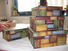 .neat storage box idea, could be done with matching paper scraps and decopaged