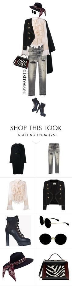 """""""True Blue: Distressed Denim"""" by slavicabojanovic ❤ liked on Polyvore featuring Rejina Pyo, Golden Goose, See by Chloé, Yves Saint Laurent, Dsquared2, Miu Miu, Mulberry and distresseddenim"""