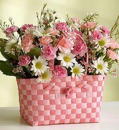 78 best flower baskets images on pinterest floral arrangements pretty flowers n pink basket mightylinksfo