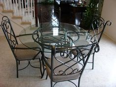 kitchen dining sets glass | glass dinette set comes complete with wrought iron chairs and glass ...