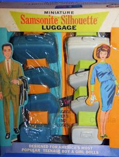 1963 Vintage Samsonite Silhouette Luggage Fashion Doll Size - Blue for him and White for her Vintage MIB - Payton Miss Teen White Samsonite Suitcase Set - 4 pieces with Train Case Barbie
