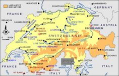 Switzerland Map with the Location of Bern Berne Bern