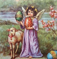 vintage angel, lamb and easter eggs.