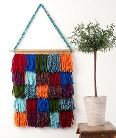 Shaggy Chic Wall Hanging Free DIY Craft Project in Red Heart Yarns