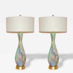 Aureliano Toso Rare Matched Pair of Vintage Murano Lamps of Multicolored Swirls