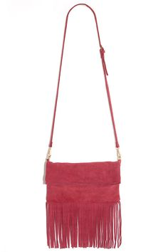 ::Gallop and Canter Red Suede Leather Fringe Purse is the perfect pop of color and accessory for a little black dress while out on the town::