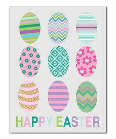 This 'Happy Easter' Eggs Print by Ellen Crimi-Trent is perfect! #zulilyfinds