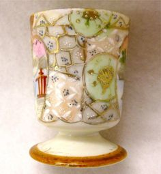 ANTIQUE NIPPON ~ HAND PAINTED PORCELAIN EGG CUP ~ BEAUTIFULLY DETAILED Painted Porcelain, Hand Painted, Vintage Egg Cups, Egg Coddler, Photoshop, Cozies, Kitchen Items, Earthenware, Japanese Art