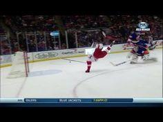 Darren Helm flips over Poulin and scores Darren Helm, Detroit Hockey, Hockey Players, Scores, Surfing, Football, Youtube, Soccer, Futbol