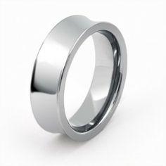 Unisex High Polish Tungsten Concave Wedding Band Ring 7mm, $329.98