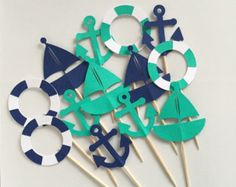 Nautical Themed Cupcake Toppers - Sailboats, Anchors & Life Preserver - Set of 12 - Navy and Turquoise. >>> Learn more at the picture Baby Cupcake, Baby Shower Cupcakes, Baby Shower Parties, Baby Shower Themes, Baby Boy Shower, Nautical Theme Cupcakes, Nautical Party, Themed Cupcakes, Nautical Wedding
