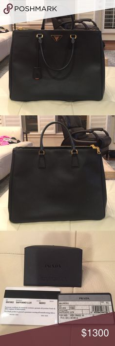 PRADA saffiano lux leather bag Authentic prada saffiano,color black,2 zipper handbag,in excellent condition,no scratches/damages,only worn few times!! Includes authenticity card,dust bag!! No trade. Prada Bags Totes