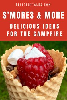 S'mores and more! Here are some delicious ideas with marshmallows, chocolate and raspberries for your next camping trip or cookout. Camping Games, Camping Meals, Camping Tips, Camping Songs, Camping Supply List, Yummy Treats, Yummy Food, Campfire Food, Campfire Recipes