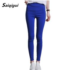 Saiqigui 2017 New Fashion High Waist Trousers for Women Leggings Plus Size S 3XL Solid Elastic Casual Slim Fitness Pencil Pants-in Leggings from Women's Clothing & Accessories on Aliexpress.com | Alibaba Group