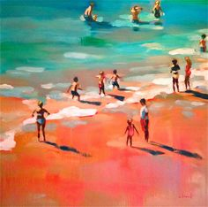The Mayan Riviera 1 by Elizabeth Lennie Paintings I Love, Beautiful Paintings, Toronto Art Gallery, Guache, Tropical Art, Painting People, Surf Art, Canadian Artists, Beach Scenes