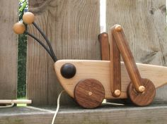Grasshopper Wooden Pull Toy in Maple and Walnut